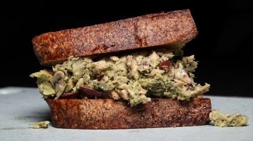 Pesto, Olive, and Artichoke Tuna Salad Sandwich Recipe