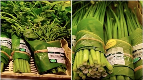 Supermarkets in Thailand and Vietnam Start Using Banana Leaves Instead of Plastic