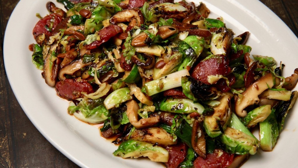 Stir-Fried Brussels Sprouts and Shiitake Mushrooms Recipe