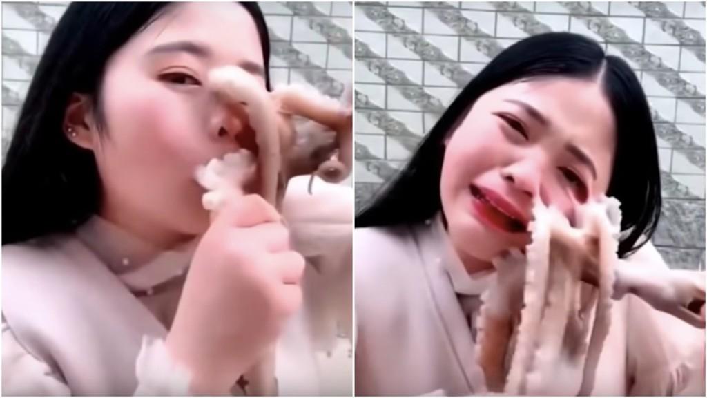 Frau will in lebenden Oktopus beißen, Oktopus beißt zurück