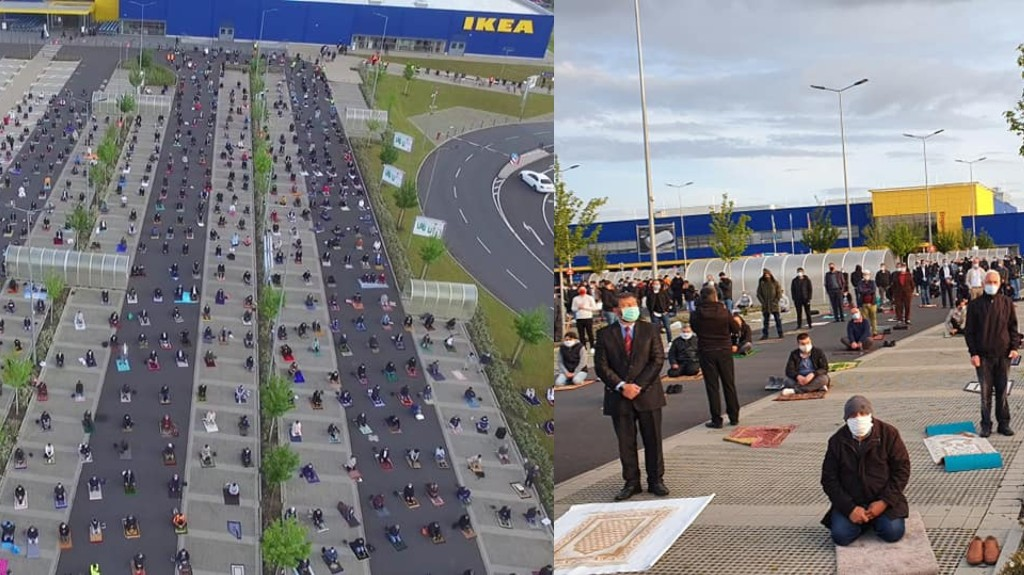This IKEA Parking Lot Transformed Into a Prayer Area for 800 Muslims Celebrating Eid in Germany