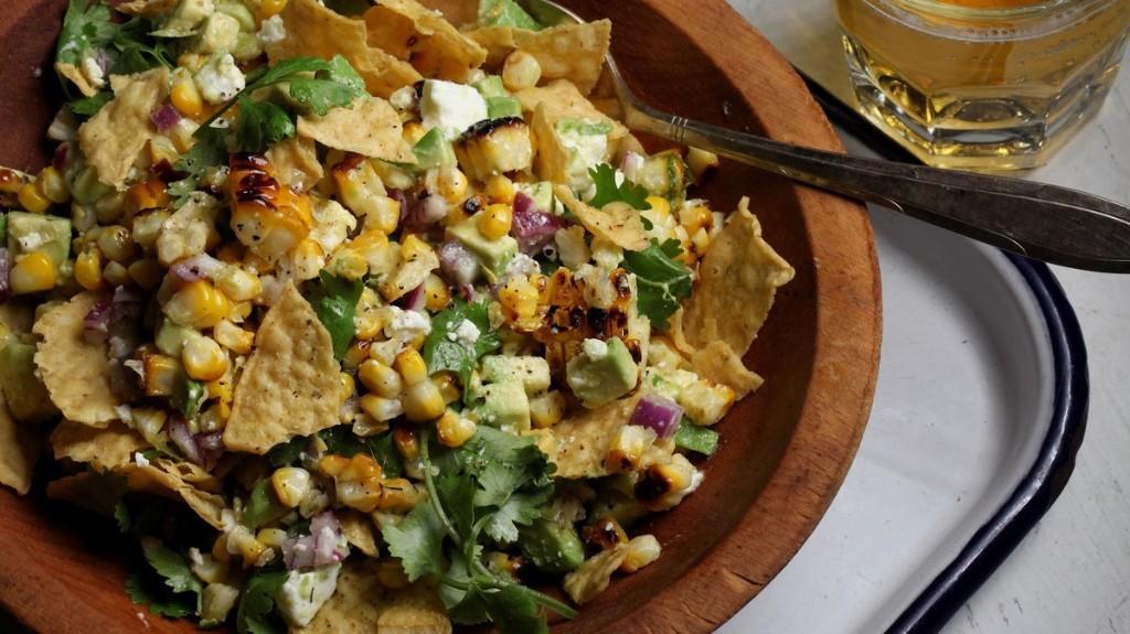 Grilled Corn, Avocado, and Tortilla Chip Salad Recipe