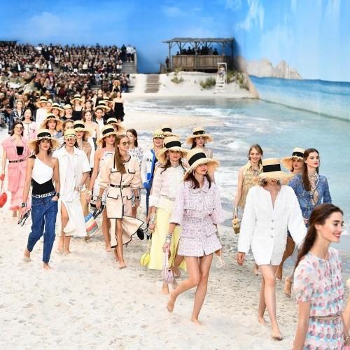 chanel brings the beach to paris fashion week