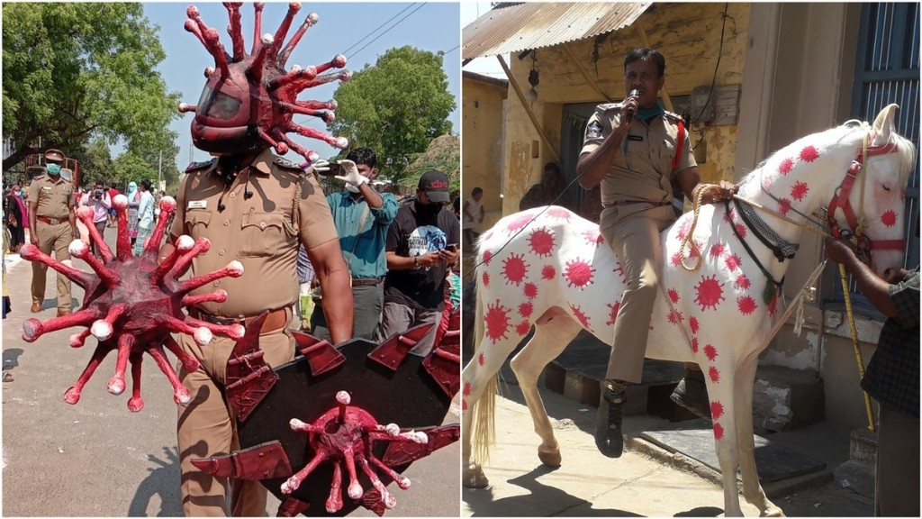 Please Take a Moment to Enjoy the Unusual Coronavirus-Themed Art Indian Cops Are Using