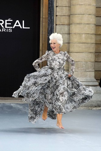 Helen Mirren Runs Barefoot Down the Runway at Paris Fashion Week
