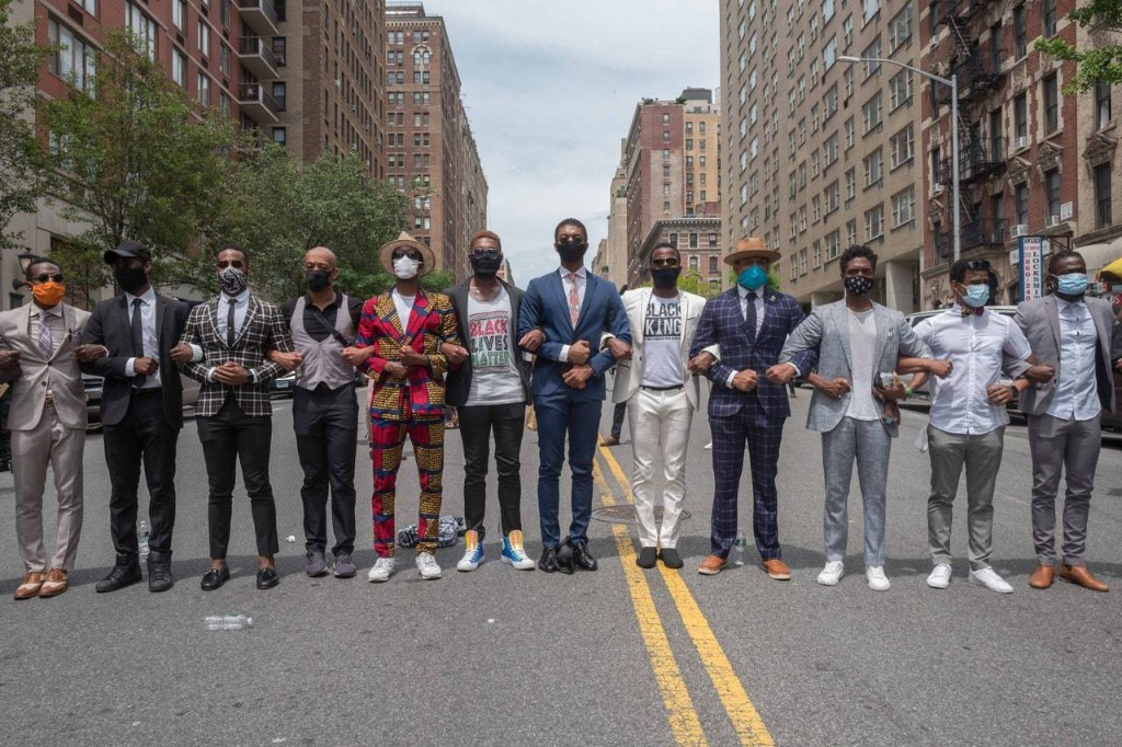 In Harlem, a Group of Black Men Pays Their Respects to George Floyd in Impeccable Style