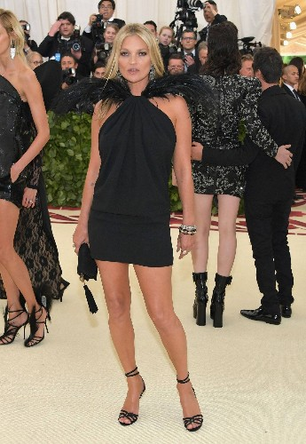 Kate Moss Goes to Her First Met Gala in Almost 10 Years in a Chic LBD