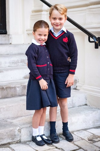 Princess Charlotte and Prince George Pose for a Precious Sibling Portrait on Their First Day of School