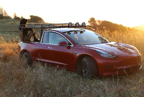 YouTuber Simone Giertz transformed a Tesla Model 3 into a pickup truck