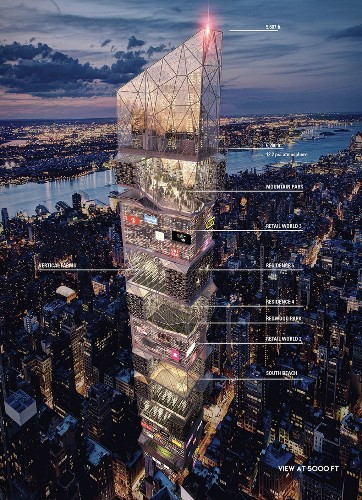 It's 3015, and Times Square is crammed inside a giant skyscraper
