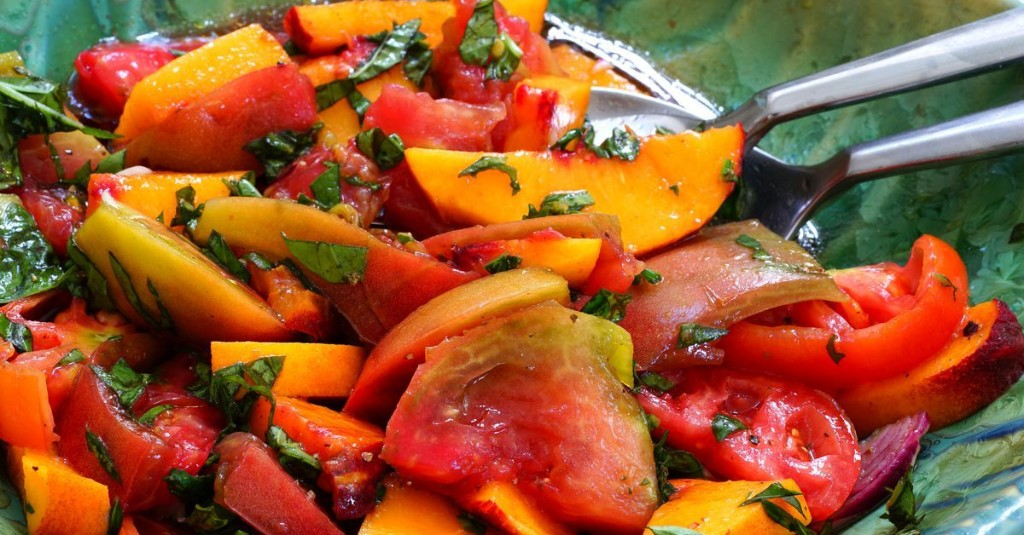 Menu planner: Round out your meal with a side of peach and tomato salad