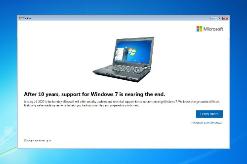 Microsoft starts notifying Windows 7 users about end of support