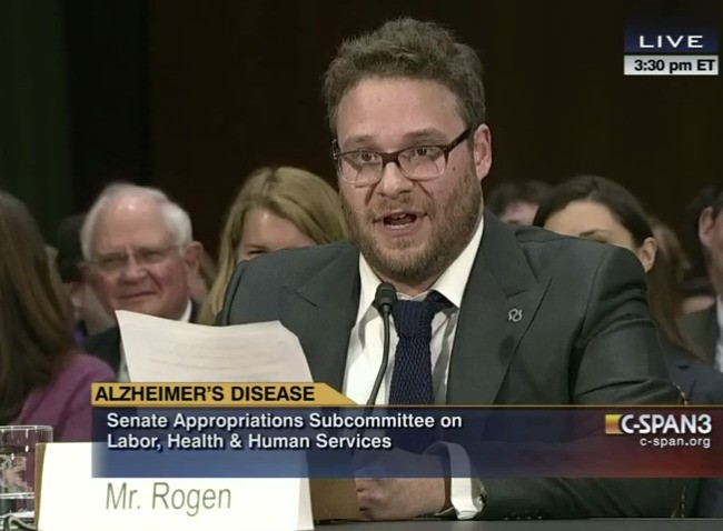 Watch Seth Rogen's hilarious and heartfelt Senate testimony on Alzheimer's research