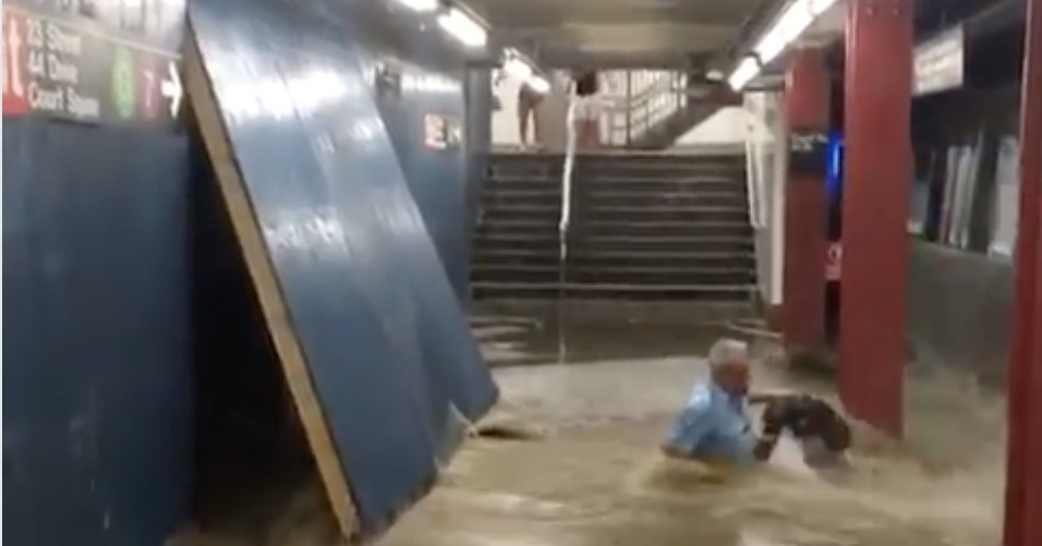 Flooding at Court Square subway stop nearly sweeps commuter off platform
