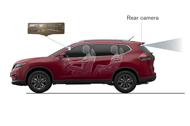 Nissan's rearview mirror switches to an LCD at the touch of a button