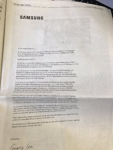 Samsung runs full-page apology ads over Galaxy Note 7 recall