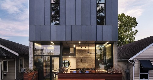 Clever modern duplex allows indoor-outdoor living on a small lot