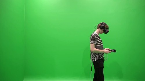 HTC Vive against a green screen shows what VR worlds really look like