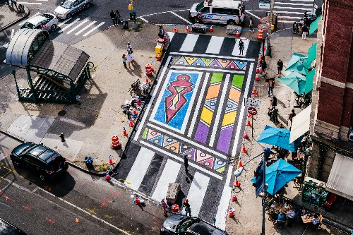 Vibrant street mural beautifies a once-dull strip in Tribeca