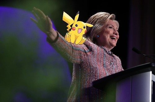 Hillary Clinton is holding a campaign event at a Pokémon Go gym