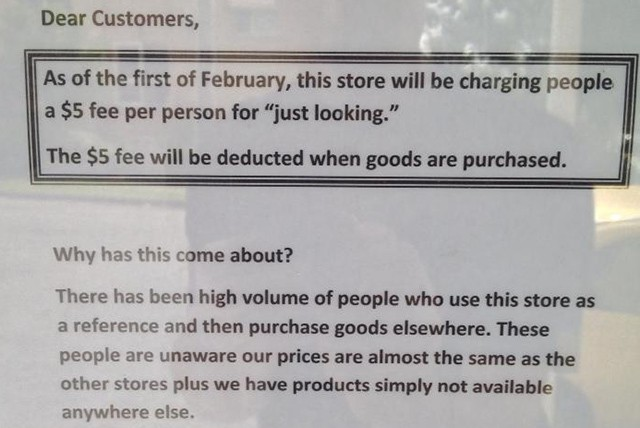 Australian store charges customers a $5 'just looking' fee in bid to stop showrooming