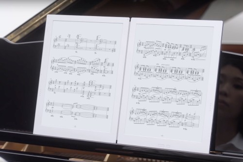 This double screen E Ink sheet music reader is finally shipping in September for $1,600