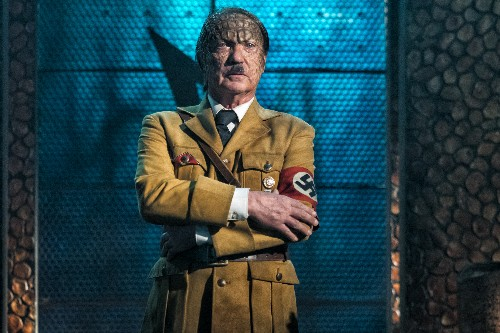 In the sci-fi spoof Iron Sky: The Coming Race, Alien Hitler rides a T-Rex to war