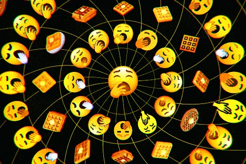 How I made the yawning face and waffle emoji
