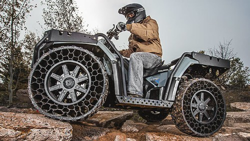Polaris' latest ATV has airless tires that can withstand .50-caliber rounds