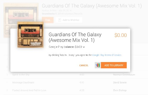 The hit 'Guardians of the Galaxy' soundtrack is free at Google Play today