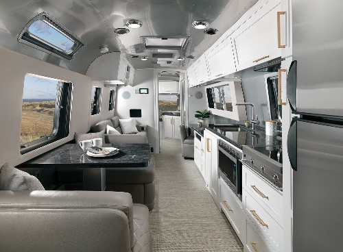 Updated Airstream trailer unveils chic apartment-like interior