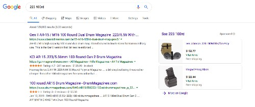 Google is showing shopping results for 100-bullet magazines, despite policy against gun ads