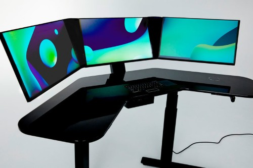 This all-in-one smart desk has three screens and a built-in scanner
