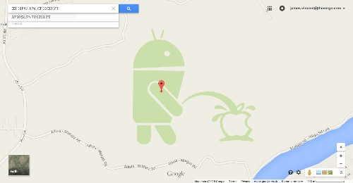 Google apologizes for the Android robot peeing on an Apple logo in Google Maps
