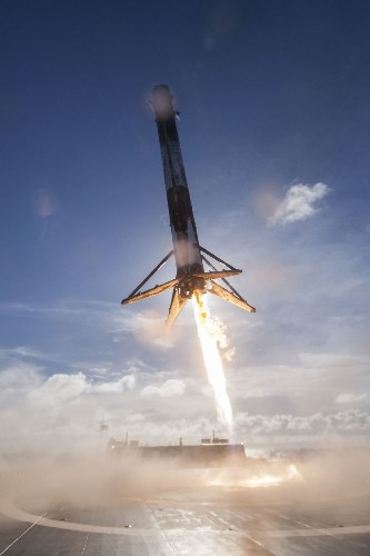 New SpaceX photos show Falcon 9 rocket's angled landing