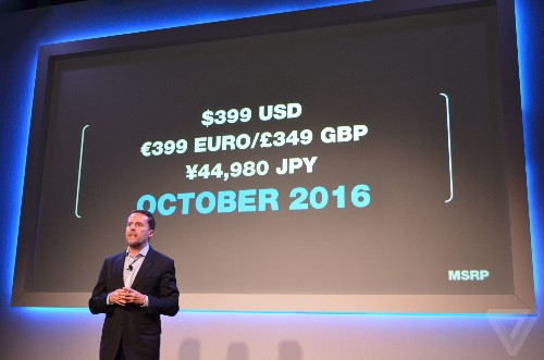 Sony's PlayStation VR costs $399 and is coming in October