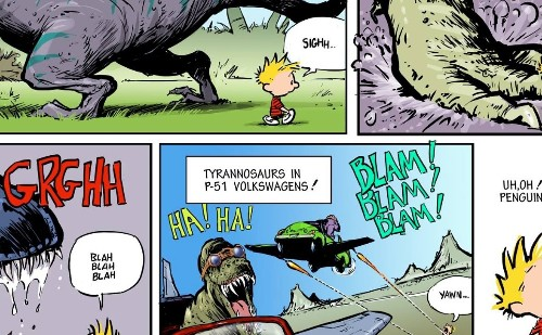 Calvin and Hobbes, and Bloom County, titans of newspaper comics pages, team up