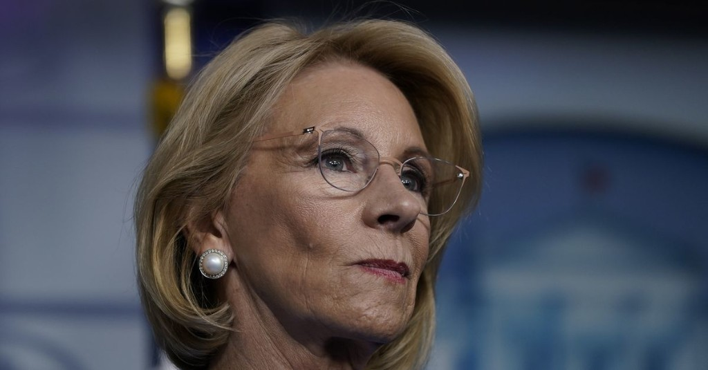 Asked whether she is using crisis to support private school choice, DeVos says 'yes, absolutely'
