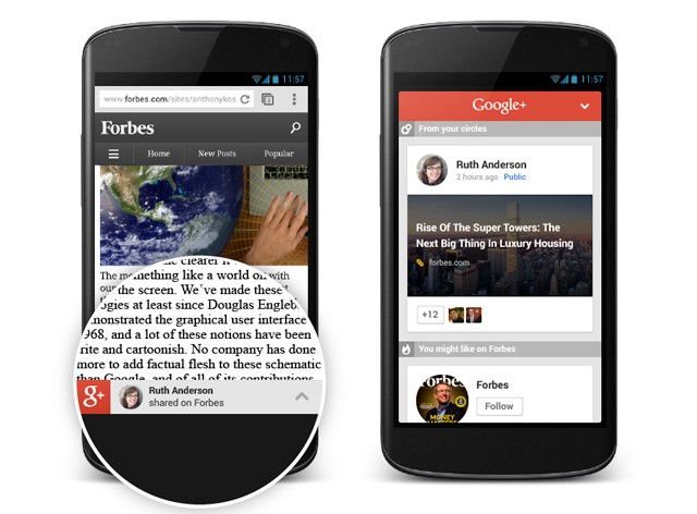 Google+ extends its reach with article recommendations for mobile websites