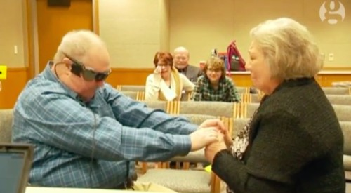 Watch a blind man use a bionic eye to see his wife for the first time in a decade