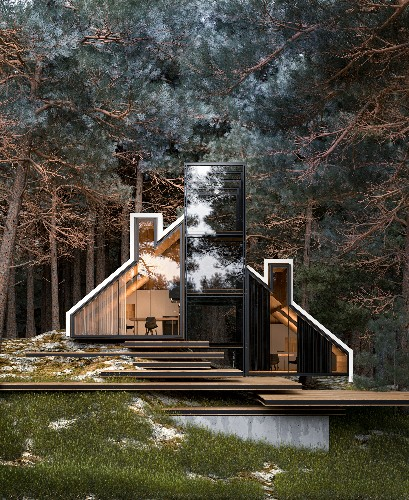 Glass house design is all about indoor-outdoor forest living
