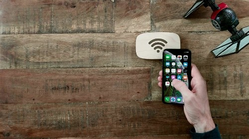 This wooden NFC puck gets guests onto your Wi-Fi network without a password