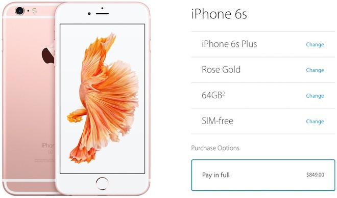 Unlocked iPhone 6S and 6S Plus now available from Apple