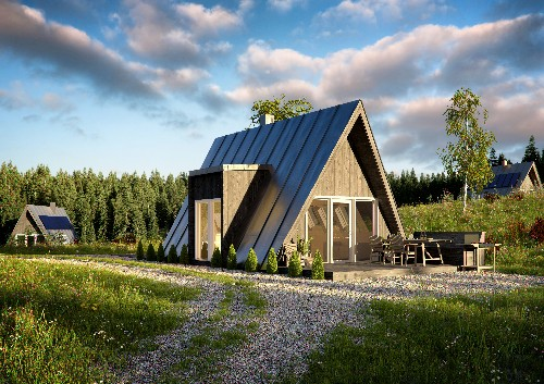 Affordable A-frame house can be built by just two people