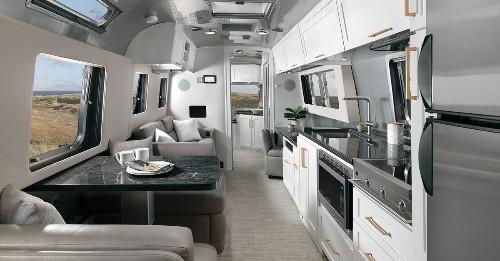 Updated Airstream trailer unveils chic apartment-like interior