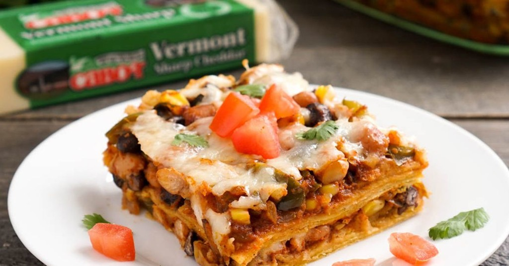 Vegetarian enchilada casserole makes an easy dinner