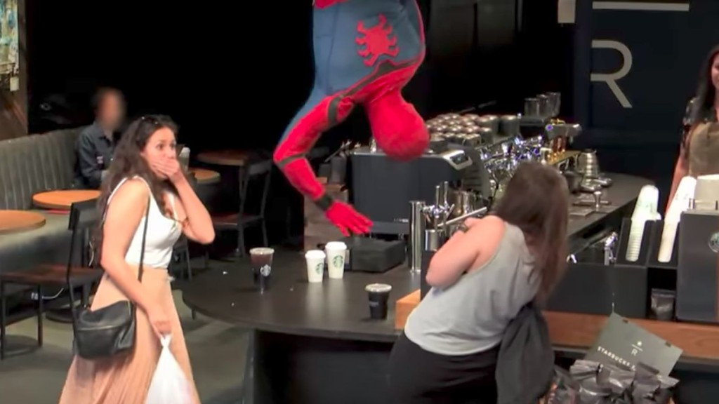 Watch Spider-Man Scare the Hell Out of New York Starbucks Customers