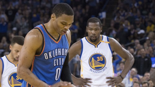 Kevin Durant needed only one half to remind the Thunder what they're missing