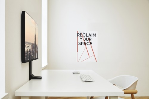 Samsung's new space-saving monitors can fold flat against a wall or cubicle