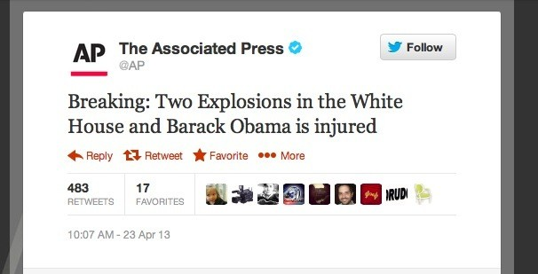 AP Twitter account hacked, makes false claim of explosions at White House (update)